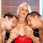 Georgette fucks two guys for the first time on-camera