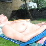 Naked  Topless In The Garden