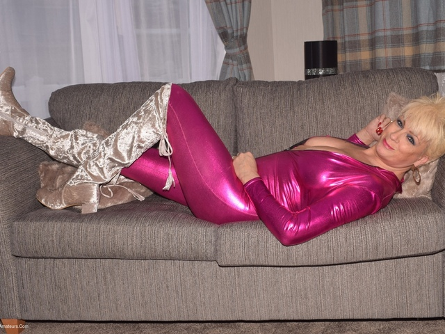 Pink Jump Suit  Silver Thigh Boots